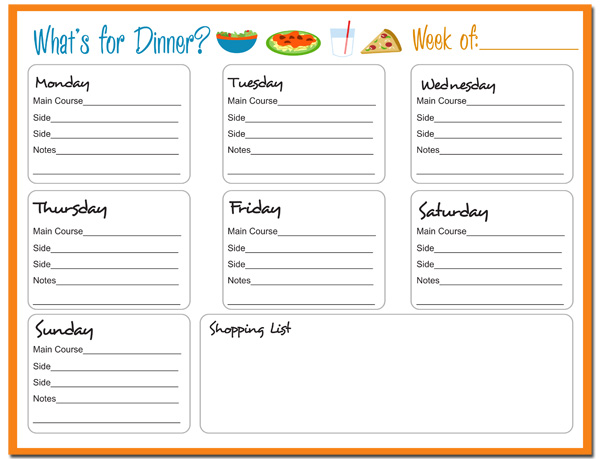 free printable menu planner template - weekly dinner planner with grocery list