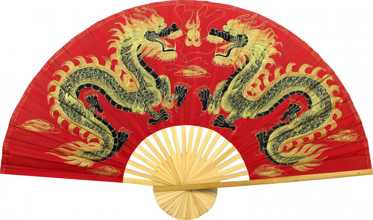 Chinese Dragon Decor Chinese Wall Fans Fiery Dragons