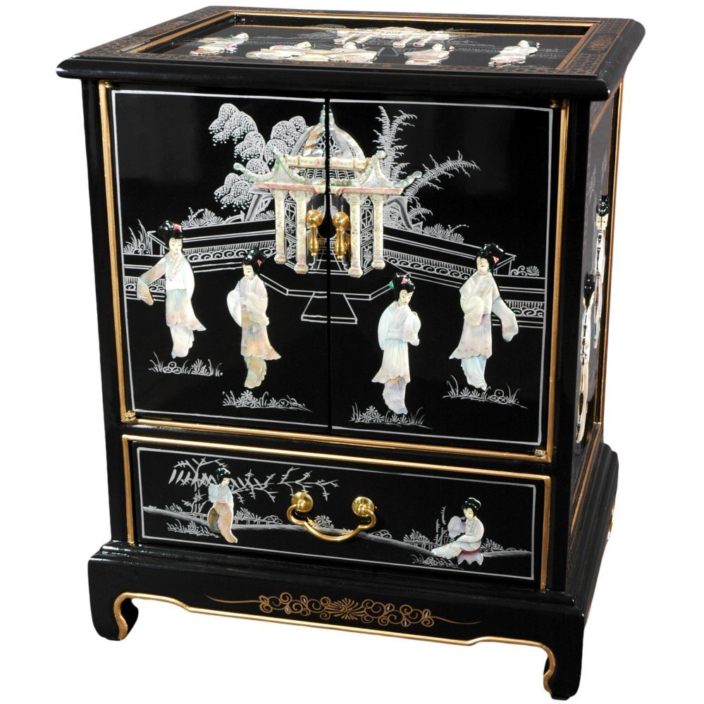 Asian Furniture Oriental Furniture Black Lacquer End Table/mother Of Pearl