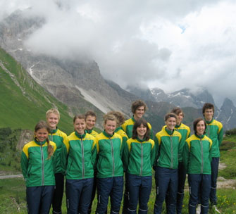 The team enjoys the scenery in Italy