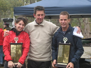 3 time champion Eddie Wymer presenting  the Winter Classic tophies to Laurina Neumann and Bruce Arthur