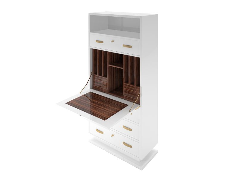 Replica Möbel Legal High White Design Secretary Cabinet With Macassar Wood ...