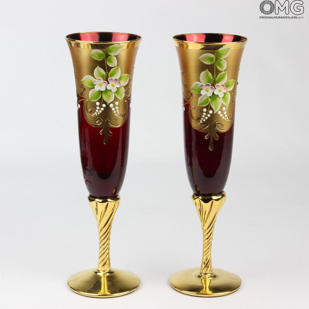 Flute A Champagne Original Set Of 2 Trefuochi Glasses Flute Red You Me Original Murano Glass