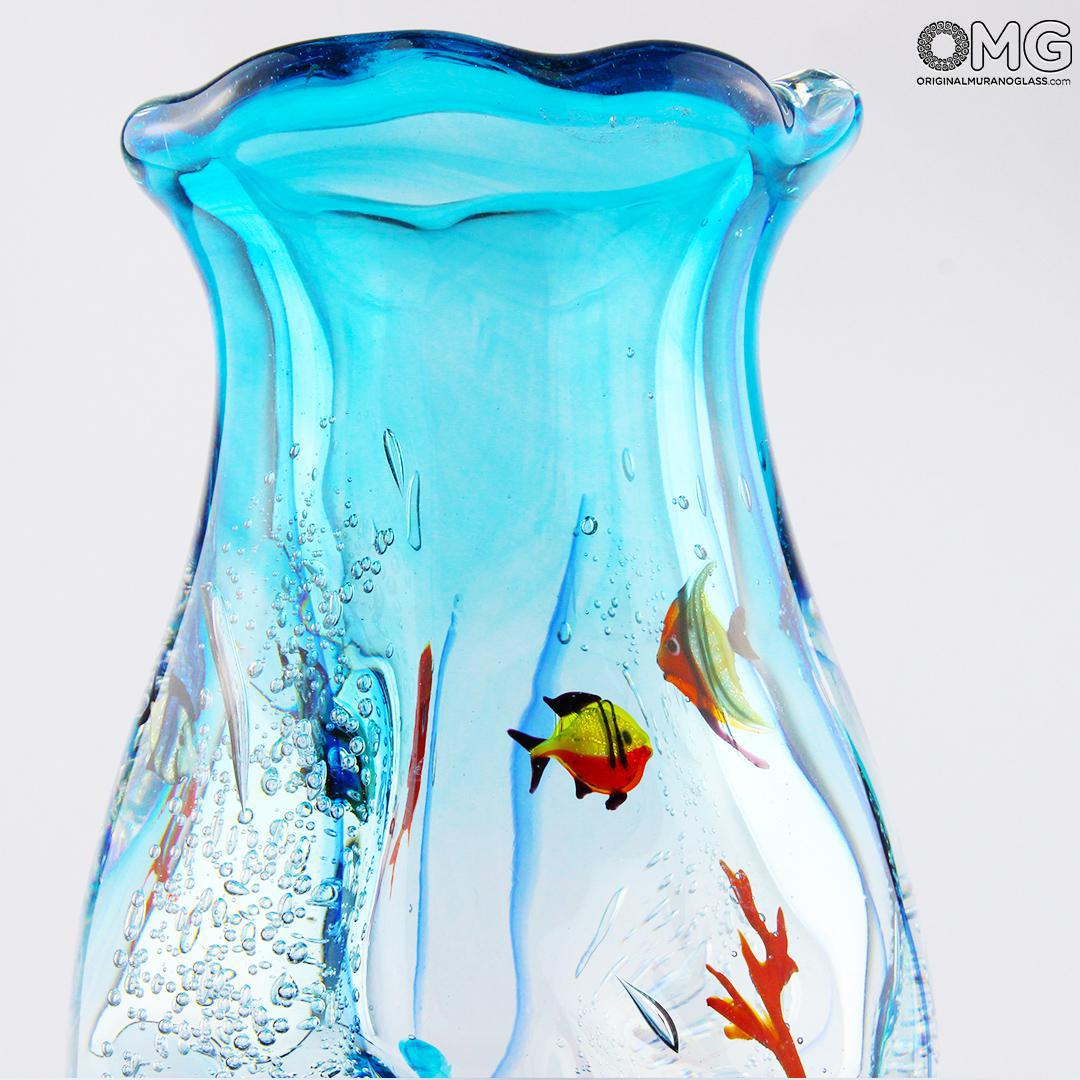 Vase De Murano Fish Vase Sommerso Technique Original Murano Glass Omg