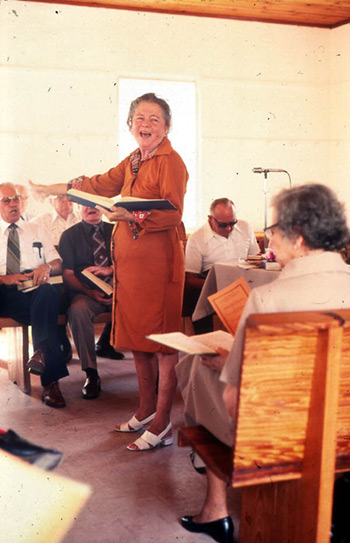 The late Iris Allbriton Yarbrough, leading at a Bethlehem singing in August 1979. Photograph by Peggy A. Bulger, State Archives of Florida, Florida Memory, http://floridamemory.com/items/show/119635.