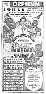Newspaper advertisement for a Crazy Gang live performance.