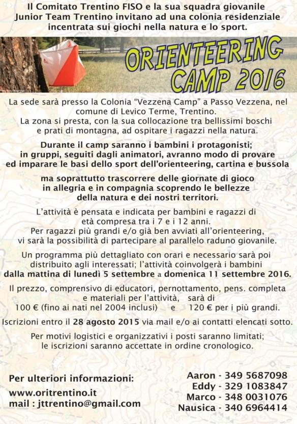 volantino orienteering camp 2016 - 2