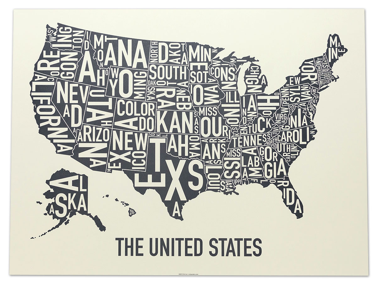 Cool Black And White Posters United States Map 24 Quot X 18 Quot Amber Waves Of Grey Poster