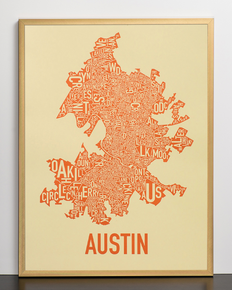 Foto 18x24 Austin Neighborhood Map 18