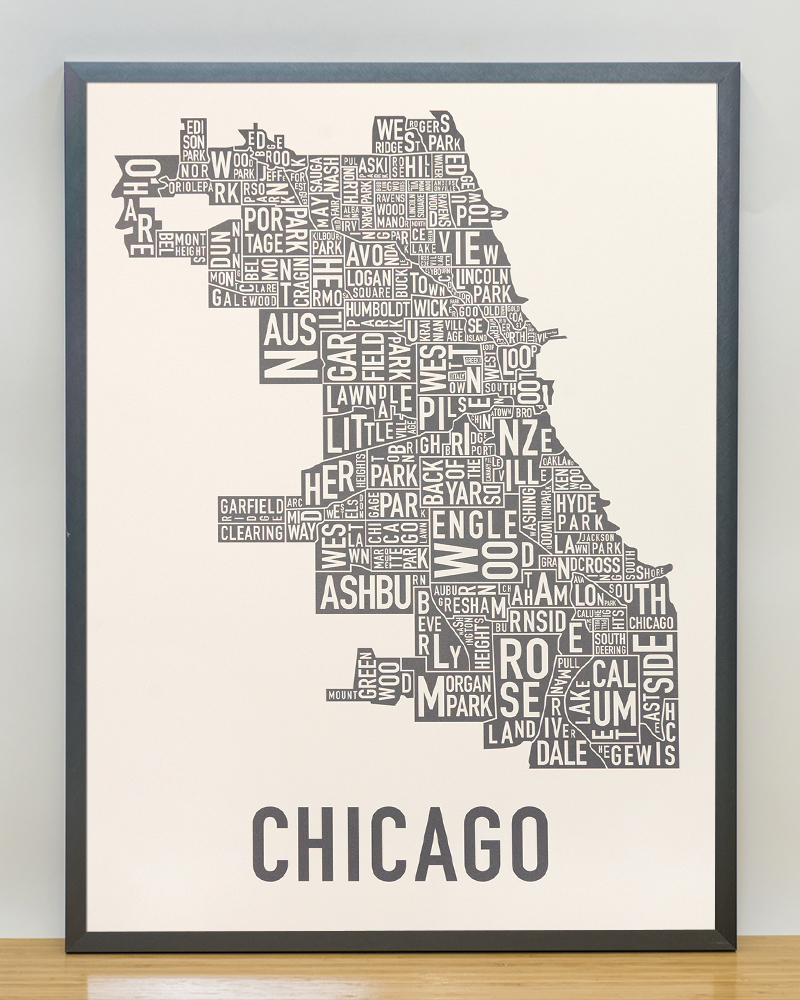 Foto 18x24 Chicago Neighborhood Map 18