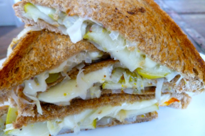 apple, muenster, and cabbage sandwich