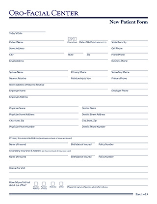 Doctor Referral Form Oro-Facial Center