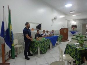 Início palestra com o FT Danúbio, posteriormente a apresentação do O/P Manoel Luiz, junto a mesa muito bem representada pelos componentes do Rotary Club de Campos