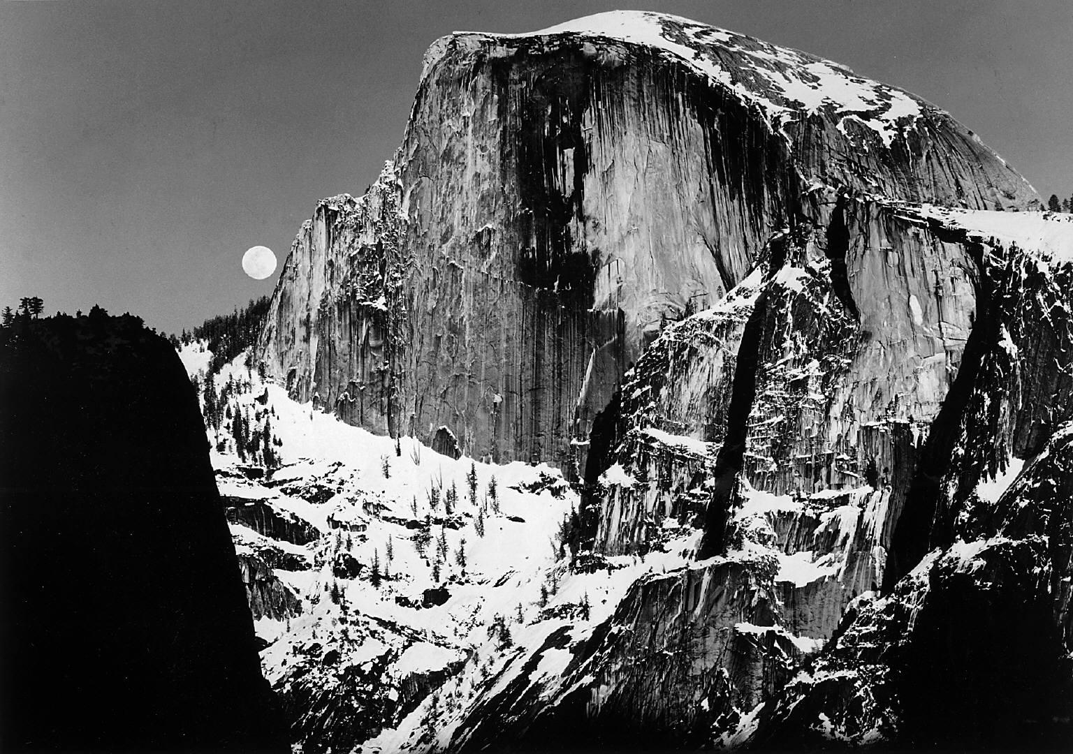 Large Black And White Posters Ansel Adams Half Dome And Moon Yosemite Valley Ca Circa