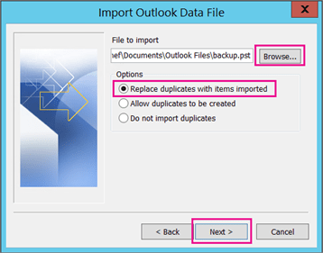 Choose the .pst file you want to import