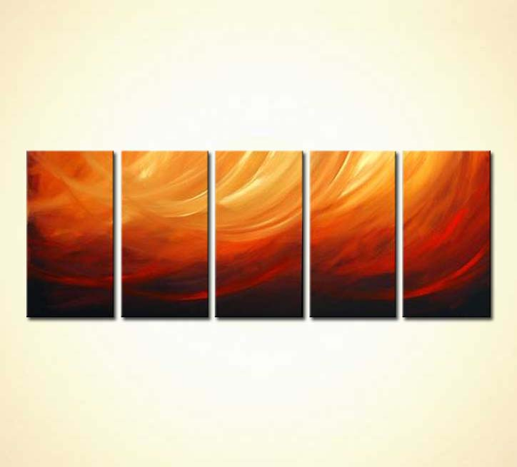 Black Floral Wallpaper Painting For Sale Multi Panel Red Orange Abstract