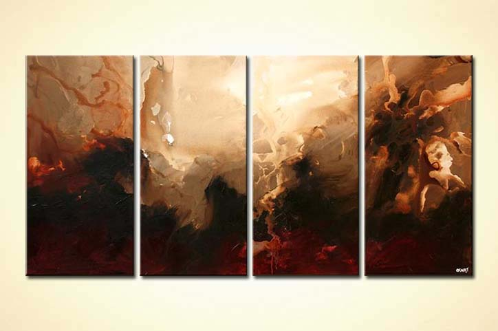 Prints Of Paintings On Canvas Painting For Sale - Multi Panel Brown Abstract Art Moon