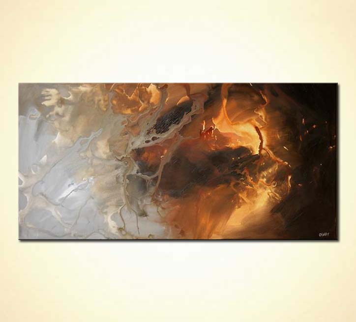 Prints Of Paintings On Canvas Painting For Sale - Brown And Gray Large Abstract Fire Ice