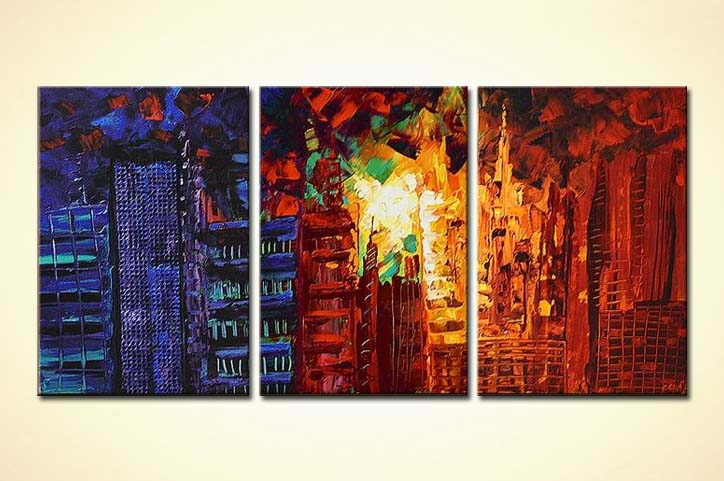 Prints Of Paintings On Canvas Painting For Sale - Triptych Canvas Modern Skyscrapers