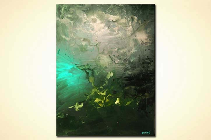 Kunst Modern Painting For Sale - Vertical Abstract Green Tones Home