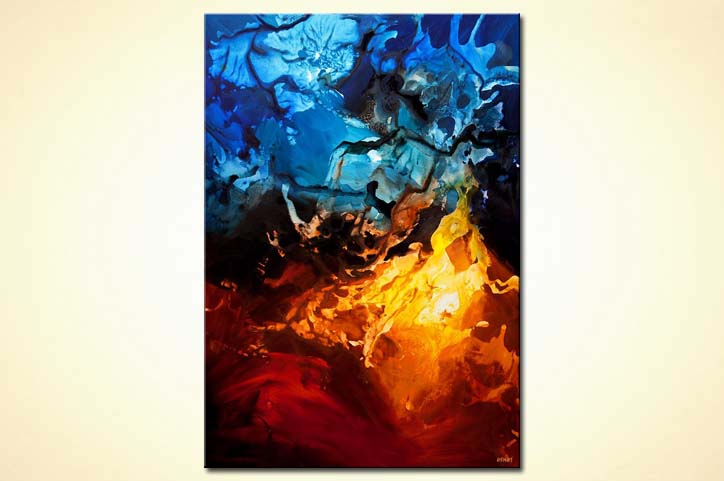 Contemporary Abstract Painting Painting For Sale Blue Red Contemporary Abstract Art Home Decor