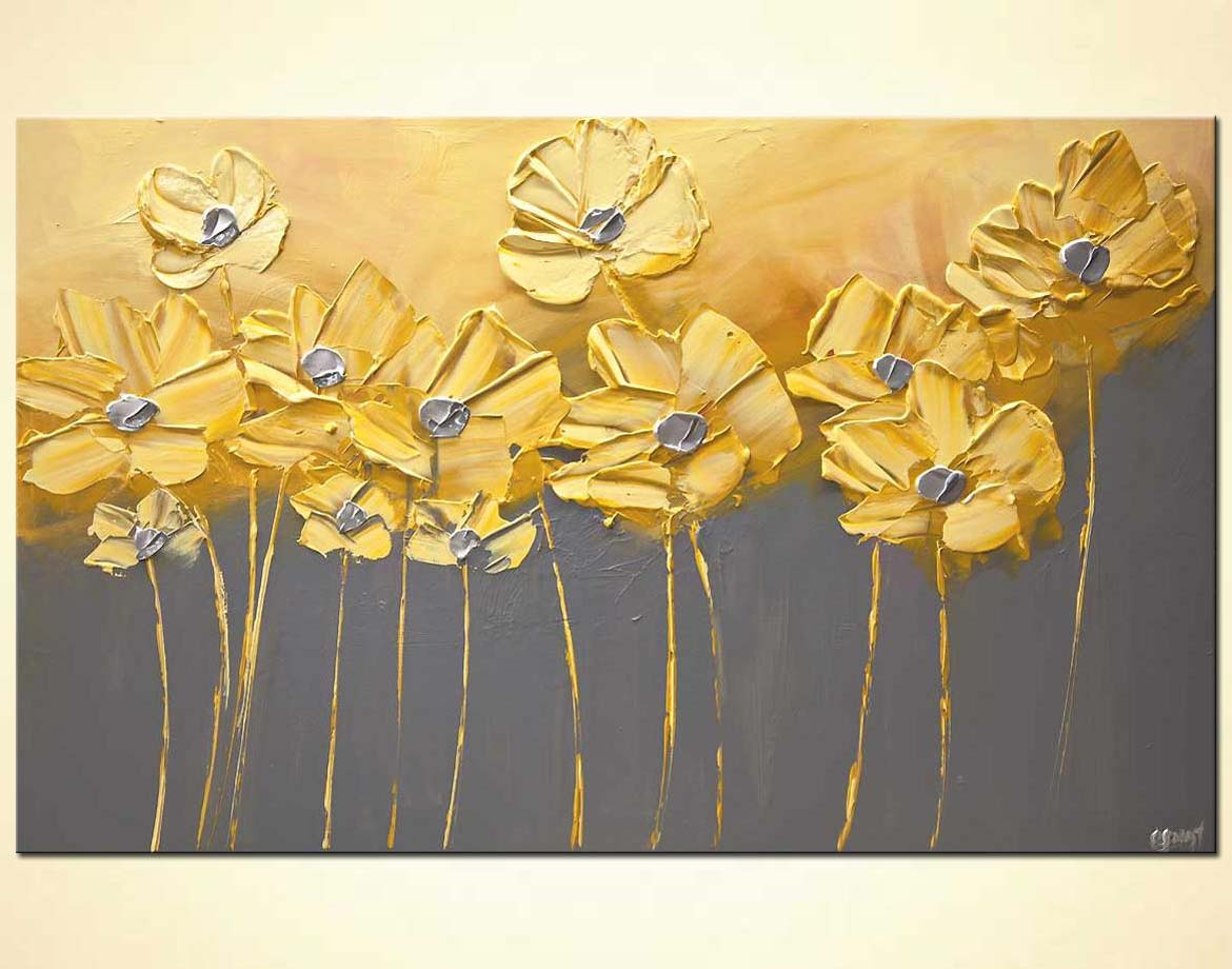 Decor Arte Buy Yellow Gray Flowers Gray Background Painting Home