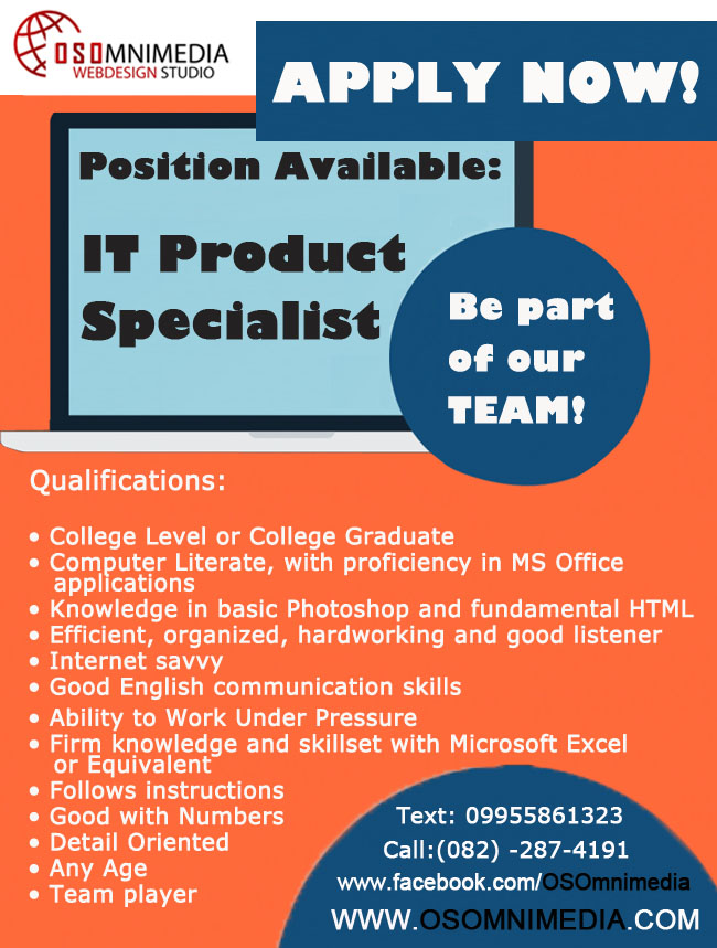 Job Hiring in Davao City Philippines - IT Product Specialist