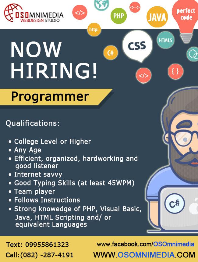 Job Opportunities in Philippines, Davao City - Programmer