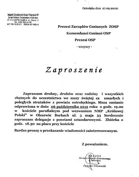 Zaproszenia Osp Ostrołęka