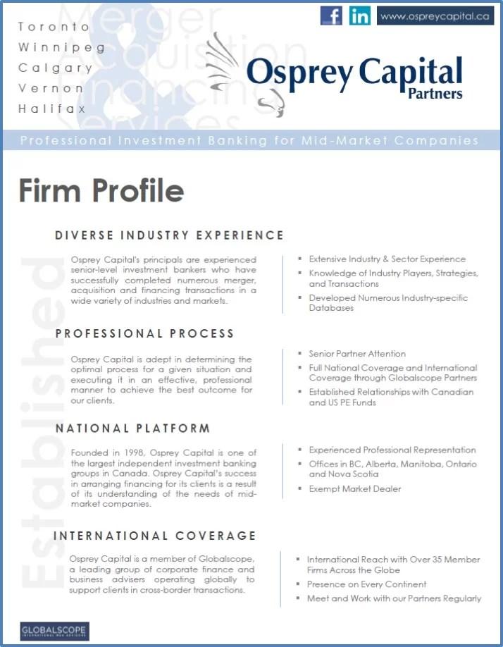 Firm Profile \u2013 Osprey Capital Partners
