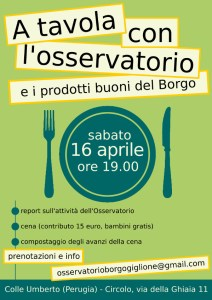 Sabato 16 Aprile, ore 19, A tavola con l'Osservatorio e i prodotti buoni del Borgo