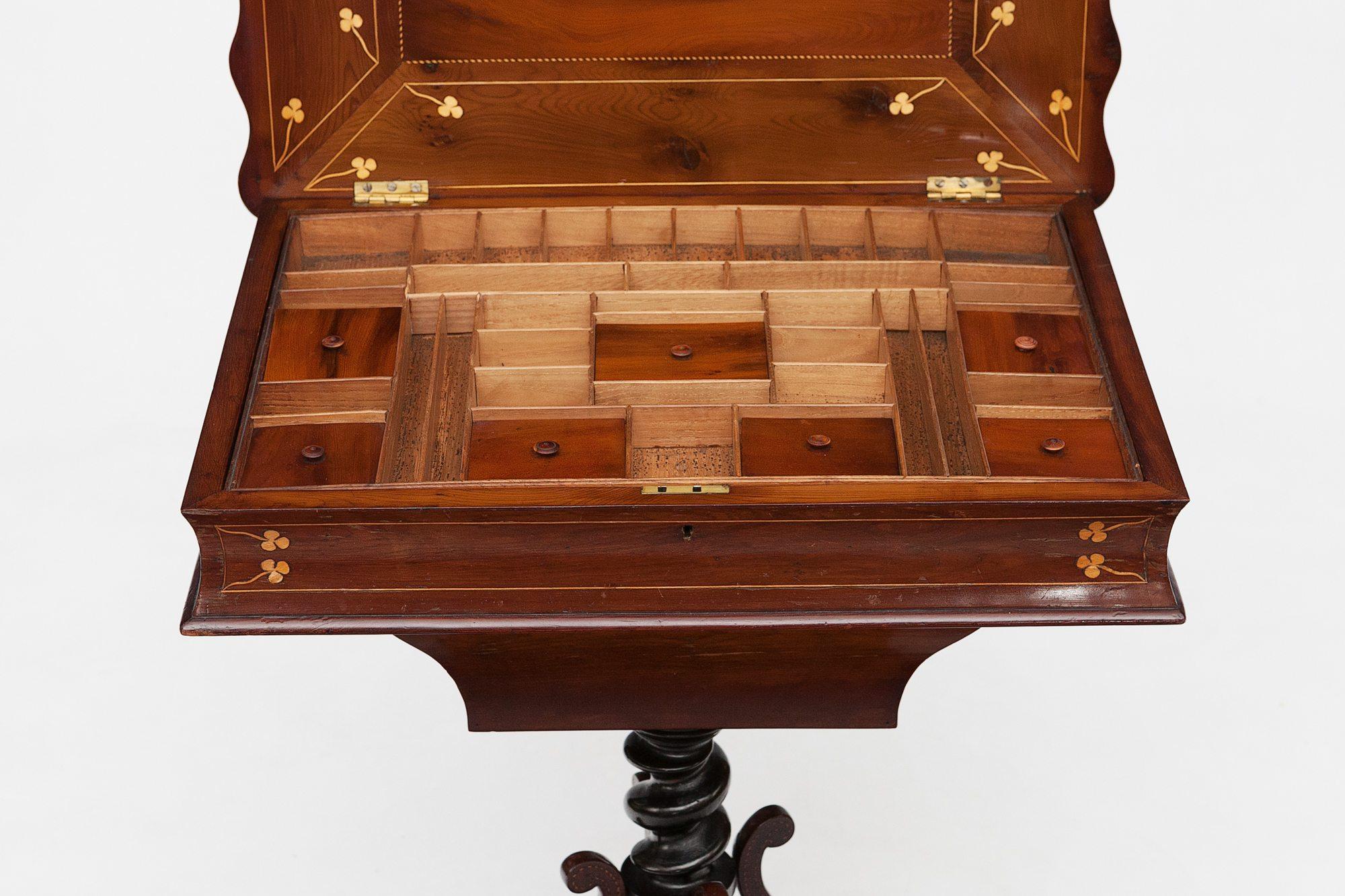 9604 19th Century Killarney Ware Marquetry Work Table