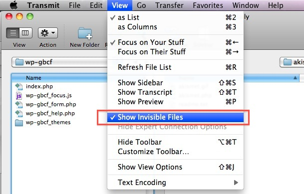 How to Show Invisible Files in Transmit for Mac