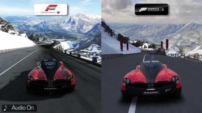 Forza 4 vs Forza 5 : Il faut avouer que les différences ne sont pas toujours évidente en 720p...