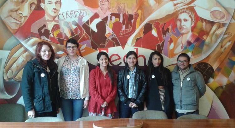 Voceres de OTD Chile y el Frente de la Diversidad Sexual con la presidente de la FECh, Valentina Saavedra.