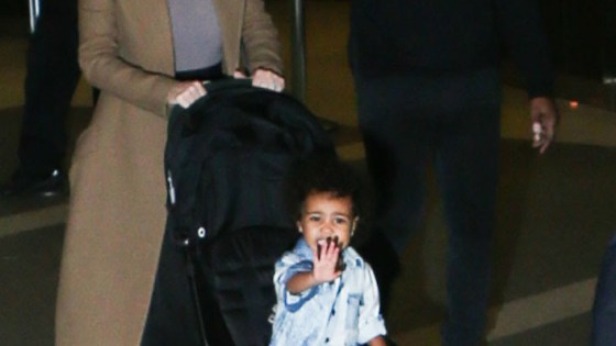 Kim Kardashian, Kanye West and North West seen at LAX airport