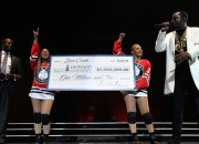 "WASHINGTON, DC - SEPTEMBER 22:  Sean ""Diddy"" Combs (R) presents his Alma Matter Howard University's President Wayne A.I. Frederick, M.D., MBA with one million dollar check at the Puff Daddy and Bad Boy Family Reunion Tour at the Verizon Center on September 22, 2016 in Washington D.C..  (Photo by Larry French/Getty Images for Live Nation)"