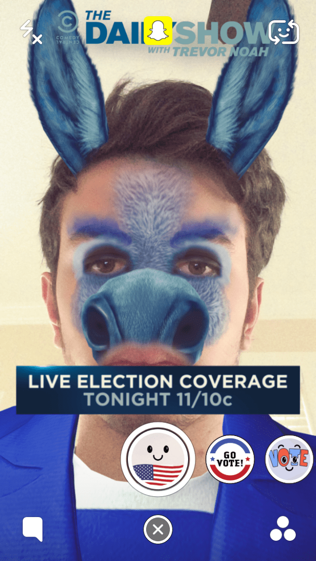 Hillary Clinton Donkey Election Day Snapchat Lens Filter