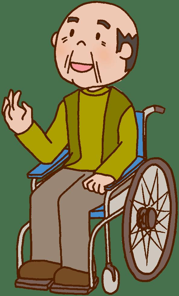 Keyword =otナガミネのリハビリイラスト集=患者 利用者 入居者 車イス 車椅子 車いす 高齢者 老人 お年寄り おじいさん
