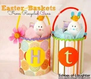 Easter Baskets from Recycle Cans