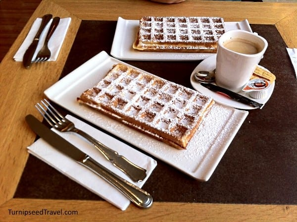 Belgium waffles and coffee in Bruges