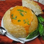 Delicious Tomato Basil Soup Recipe In A Bread Bowl