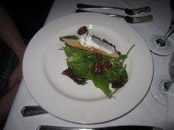 Local greens, cherries, pecans, goat cheese salad