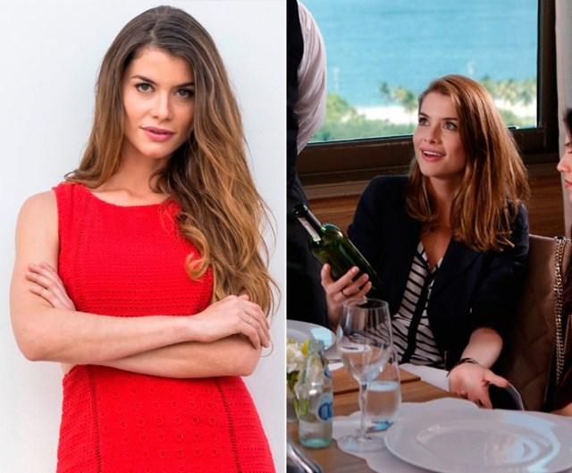 Antes e depois: Alinne Moraes cortou as longas madeixas para a nova fase da novela (Foto: Paulo Belote/Globo/Fábio Rocha/Gshow)
