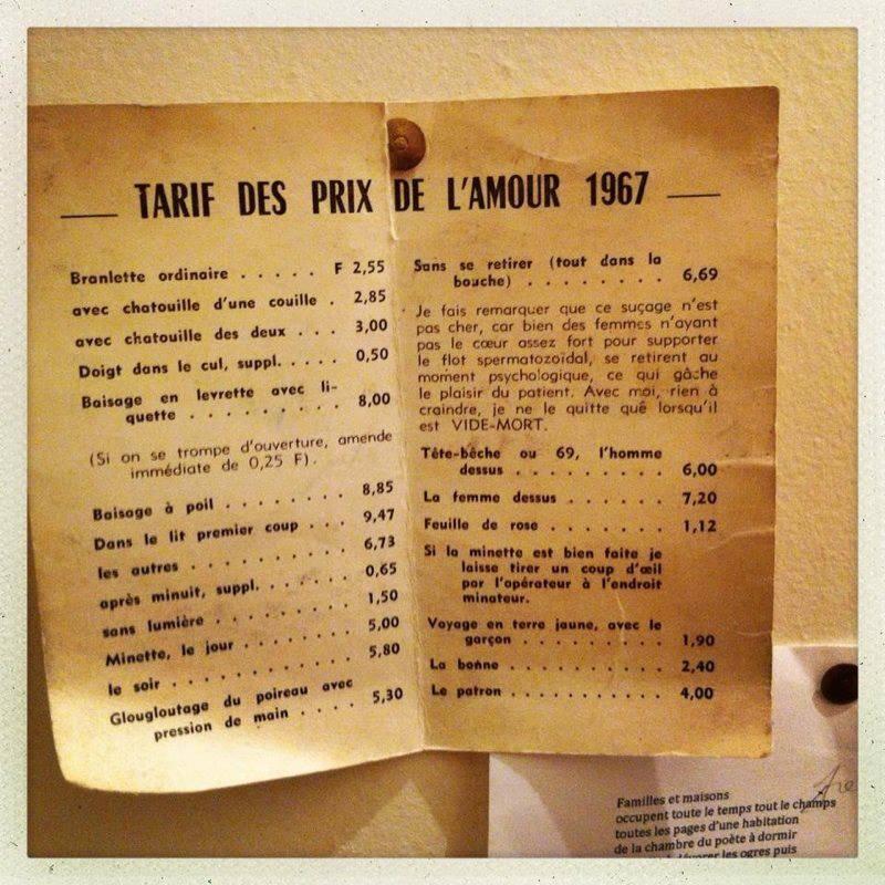 Tarif des prix de l'amour #1967