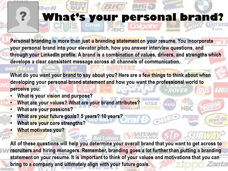why should i brand myself Oakland University Career Services - resume branding statement examples