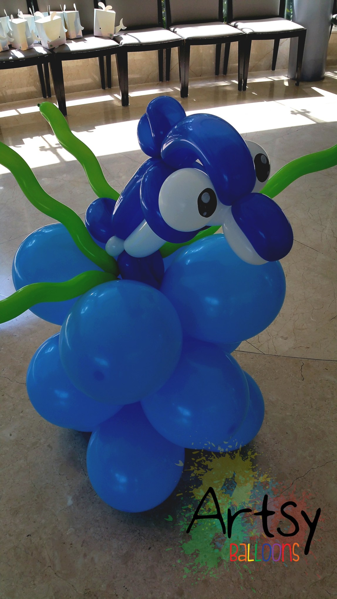 , Underwater themed balloon decorations for a function room!, Singapore Balloon Decoration Services - Balloon Workshop and Balloon Sculpting