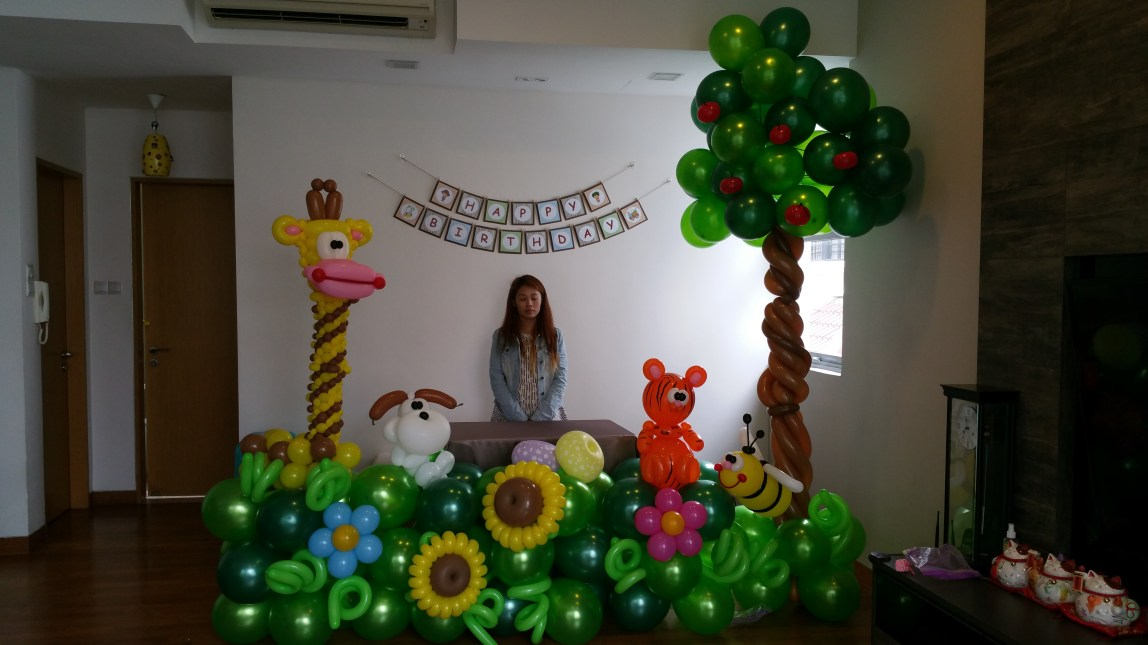 , Animal themed balloon decoration for a lovely twin!, Singapore Balloon Decoration Services - Balloon Workshop and Balloon Sculpting