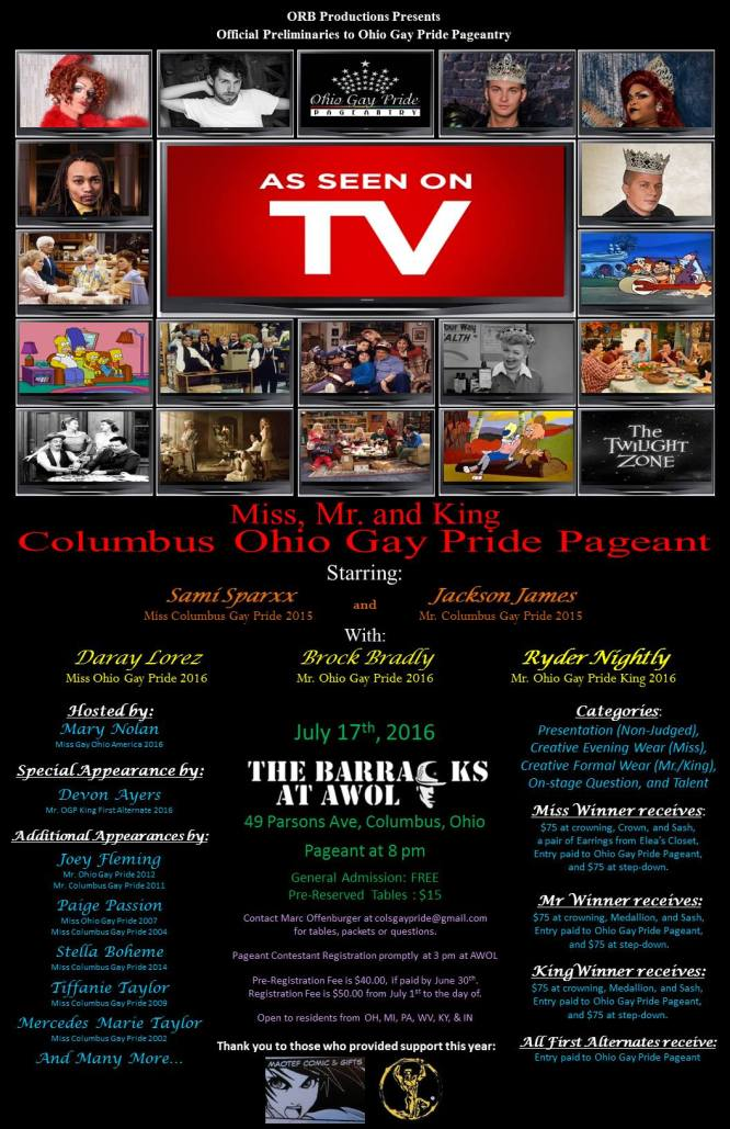Show Ad | Mr. Miss and King Columbus Gay Pride | The Barracks at AWOL (Columbus, Ohio) | 7/17/2016