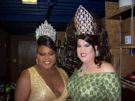 Tajma Hall and Alexis Stevens in 2009 at Alexis' stepdown for Miss Gay Ohio USofA @ Large.